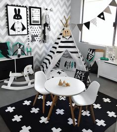 "A L I C I A + H U D S O N on Instagram: ""Switched Hudson's nursery and playroom around for some more space ➕ New Swiss Cross rug from @kmartaus #monochrome #playroom #toyroom #boysroom #kidsroom #blackandwhite #decor #inspo #kidsperation #decorforkids #interior #kidsroominspo #interiorstyling #childrensinterior #toys #mockaaustralia #mocka #kmart #kmartaddictsunite #kmartstyling #kmartausinspire #teepee #chevron"""