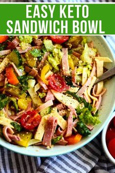 Easy Keto Sandwich Bowl - recipesThis keto sandwich bowl is easy, delicious, and full of fresh veggies. This low carb recipe is quick, customizable to your liking, and a great change of pace for a refreshing meal. / keto recipes / keto diet food / l Healthy Recipes, Ketogenic Recipes, Lunch Recipes, Low Carb Recipes, Diet Recipes, Keto Foods, Dessert Recipes, Slimfast Recipes, Keto Veggie Recipes
