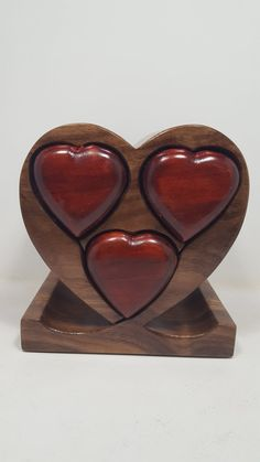 Jewelry Box Heart Shape with 3-drawers BX0255 by WoodArtBoxes