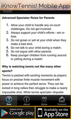 is the app to learn and understand the rules of the game. You decide what to do in real tennis situations. Real Tennis, Win Or Lose, Drills, Mobile App, Athlete, Parents, Challenges, Learning, Stars