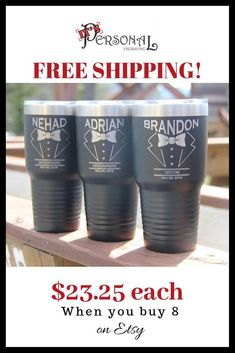 Your groomsmen want theses tumblers! Double walled vacuum insulated and laser engraved with the classic tuxedo. Perfect gifts for the Bachelor party and the Wedding Day! FAST FREE SHIPPING! QUANTITY DISCOUNTS! Click to see great colors and big savings! #groomsmengifts #weddingfavors #weddingcups inexpensive gifts for bridal party, wedding party gifts, for wedding usher, for best man, for groom, for father of the groom, bachelor party ideas, for officiant, unique wedding gifts, for him