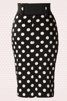 Rock Steady Clothing Catch me if you can Black Pokadot Pencil Skirt 120 14 14303 01W