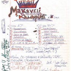 """2pac drafts a version of his upcoming Makaveli album. The tracklist includes """"Watch Ya Mouth"""", """"Lost Souls"""", """"Friends"""", and """"When Thugz Cry."""" What's your favorite song from the album?"""