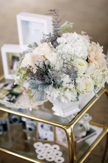 Arrangement with silver Dusty Miller foliage