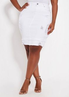 1790cdfe9e0 Ashley Stewart Destructed Release Hem Denim Skirt