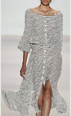 Black And White Button Up Marinière Maxi Dress