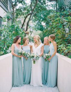 Seafoam blue bridesmaid dresses: http://www.stylemepretty.com/2016/01/25/seafoam-blue-santa-rosa-beach-wedding/ | Photography: Jennifer Blair - http://jenniferblairphotography.com/