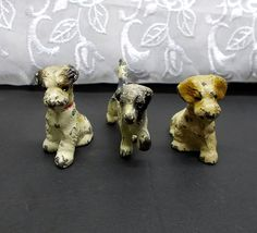 Three Miniature Cast Iron Hubley Dogs - Paperweights or Party Favors from madgelee on Ruby Lane