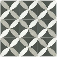 """Forties 7.75"""" x 7.75"""" Ceramic Floor and Wall Tile in Petal White and Gray"""