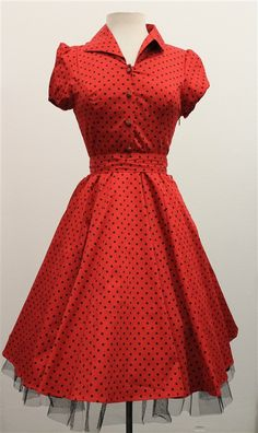 H & R London Red & Black Small Polka Dot 50's Swing Dress