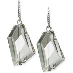 Abs by Allen Schwartz Earrings, Silver-Tone Glass Stone Drop Earrings (£23) ❤ liked on Polyvore featuring jewelry, earrings, no color, silver tone jewelry, asymmetrical earrings, glass bead earrings, silvertone jewelry and sparkle jewelry