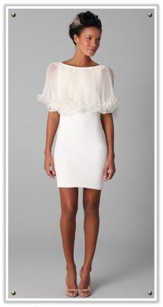Beautiful shoulder detail on a short wedding dress