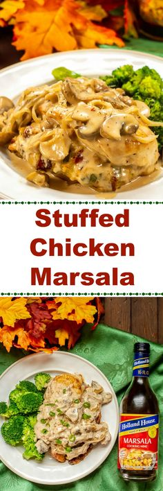 This Delicious Stuffed Chicken Marsala Recipe Is Made With Baked Chicken Breasts Stuffed With Italian Cheese, Sun-Dried Tomatoes, Basil, And Green Onions, And Covered In A Creamy Marsala Cooking Wine Sauce. Entree Recipes, Lunch Recipes, Wine Recipes, Appetizer Recipes, Easy Recipes, Popular Recipes, Cooker Recipes, Delicious Recipes, Walnut Chicken Recipe