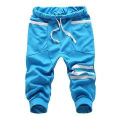 KSFS New Fashion mens cropped sweatpants cotton Men hip hop Harem Summer shorts Black Dark Blue Gray Sky Blue M L XL XXL XXXL