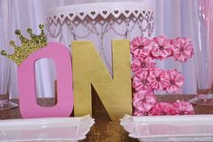 Princess glitz pink & gold birthday party! See more party planning ideas at CatchMyParty.com!