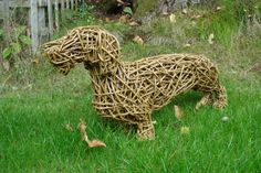 Willow Dog sculpture by artist Emma Walker titled: 'DACHSHUND WILLOW (life size Standing Indoor/Outdoor statue)'