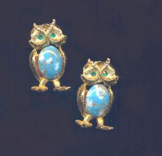 Faux Turquoise Vintage Jelly Belly Owls by MullerGlass on Etsy, $12.00