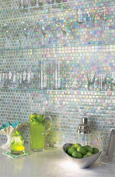 Iridescent backsplash. Great for bar or girly bathroom