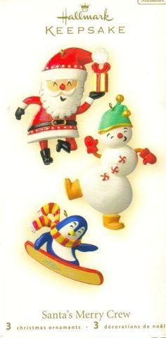 Hallmark Keepsake Ornament Santas Merry Crew Miniatures 3 pc  Brand: Hallmark Gold Crown Exclusive Product Type: Keepsake Holiday Ornament Year issued: 2008 UPC: 795902056193 Item no: QP1141 Features: Handcrafted size: miniature 1.5-2 inch Artist: Katrina Bricker Holiday: Christmas