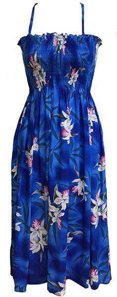b0d73a7f38 Tropical Aloha Midnight Blue Orchid Tube Smocked by FashNerds Hawaiin Dress
