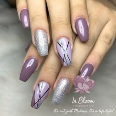 Nail trim daisy nails, flower nails, pink nails, purple nail art, pretty na Purple And Silver Nails, Purple Nail Art, Silver Nail Art, Purple Nail Designs, Pretty Nail Art, Gel Nail Designs, Orange Nail, Pink Nail Art, Red Nail