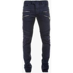 Balmain Stretch cotton denim biker jeans ($1,020) ❤ liked on Polyvore featuring mens, men's clothing and men's jeans