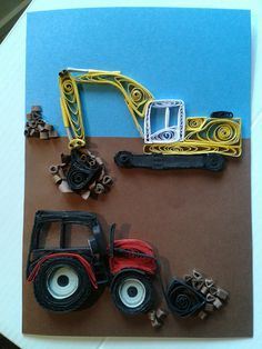 Excavator and tractor by quilling