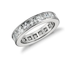 Asscher Cut Channel-Set Diamond Eternity Ring in Platinum (4.5 ct. tw.) | Blue Nile
