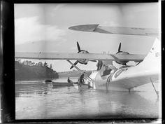 Launching the beaching gear from the Catalina, Hobsonville, Auckland
