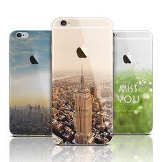 Montaña de silicona suave caso de la contraportada de la manera para iphone 6 6 s plus 5 5S sí volver funda transparente para iphone capa Fundas