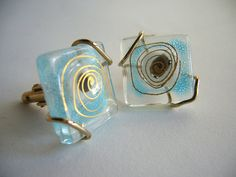 Glass cufflinks by Frances and Michael Higgins