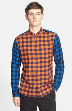 Marc By Marc Jacobs 'Lucas' Trim Fit Colorblock Check Shirt in Orange for Men (ORANGE MULTI)   Lyst
