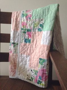 Handmade Linen and double gauze quilt baby quilt by averyandmae