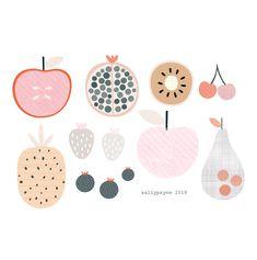 Illustration and surface pattern Illustration Inspiration, Fruit Illustration, Food Illustrations, E21, Fruit Pattern, Fruit Art, Cute Crafts, Pattern Design, Print Patterns