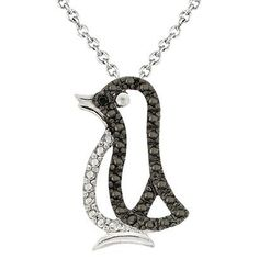 Sterling Silver Diamond Accent Open Penguin Necklace - Black