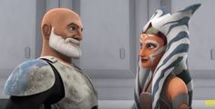 """REX: """"Commander."""" Ahsoka walks up to him and he smiles. REX: """"You got old."""" She smiles back. AHSOKA: """"Had to happen some time Rex."""""""