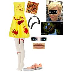 Outfit 57: Chica the Chicken from Five Nights At Freddy's by mandi-hatter on Polyvore featuring moda, Ted Baker, Sheer Caress, Converse, Freddy, fivenightsatfreddy, fnaf and chicathechicken