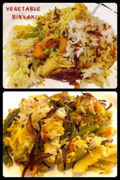 Vegetable Biryani has layers of cooked rice, cooked vegetables and fried onions. Veg Biryani, Fried Onions, Rice Dishes, Indian Food Recipes, Cauliflower, Badge, Good Food, Beans, Layers