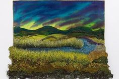 """""""Over the Hill"""" Gilda Baron Textile Artist. Free Motion Embroidery, Embroidery Art, Landscape Quilts, Thread Painting, Craft Club, Wet Felting, Textile Artists, Soft Sculpture, Felt Art"""