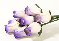 wooden roses | Ivory with Purple Tips Wooden Rose Bud Bouquet of 8 - Floral Sale ... $4.00 .50 each driftwood