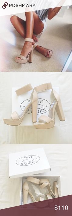 ✨NEW IN BOX✨ Steve Madden Platform Heels Steve Madden Nude Platform Heels. Super cute! I just never got around to wear them only tried on in the house. Such a perfect nude color, goes great with anything! Steve Madden Shoes