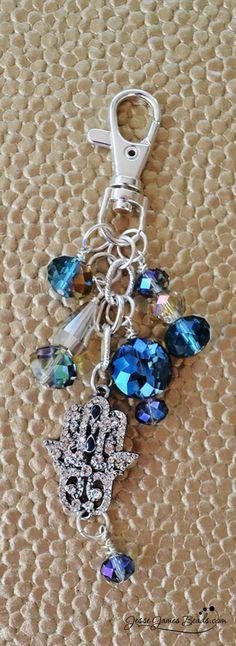 Gratitude Keychain DIY Project Blue Beaded Hamsa Hand #DIY #Jewelrymaking