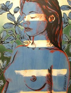 "DAVID BROMLEY ""Nude & Flowers"" Polymer & Gold Leaf on Canvas 120cm x 90cm"
