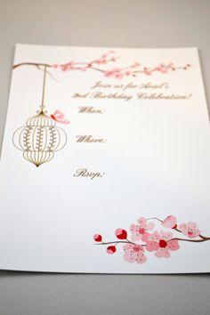 Set of 10 Cherry Blossoms Themed Birthday Invitations. $14.00, via Etsy.