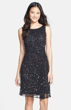 Pisarro Nights Sequin & Bead Gathered Mesh Dress available at #Nordstrom