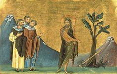 Preek van St. St. Johannes de Doper. Een miniatuur van de Minologiâ van Basileios II. 1-ik do. XI. (VAT. gr. 1613. P. 300) preek van St. St. Johannes de Doper. Een miniatuur van de Minologiâ van Basileios II. 1-ik do. XI. (VAT. gr. 1613. P. 300)