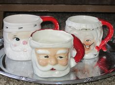 Ho Ho Ho 3 Vintage Santa Mugs by FancyVintageFinds on Etsy, $15.00