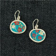 sweet chiyogami hand-crafted earrings by susan fleming jewelry...sweet and simple floral style :)