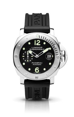 The Luminor Submersible - 44 mm by Officine Panerai is an automatic chronometer, a modern evolution of a model created in 1956 by the Egyptian Navy, with an eight-day Angelus movement, a seconds dial at 9 o'clock, a large case and graduated rotating bezel for easy underwater reading. The Luminor Submersible - 44 mm inherits the decisive personality of Officine Panerai's historic model...