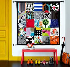 Like to sew? Create a colorful DIY wall organizer with pockets made from IKEA fabrics! I love that instead of furniture it's an artful wall-hanging! Ikea 2015, Decoracion Low Cost, Ikea Fabric, Wall Fabric, Ikea Family, Wall Organization, Hallway Decorating, Diy Wall, Home Projects
